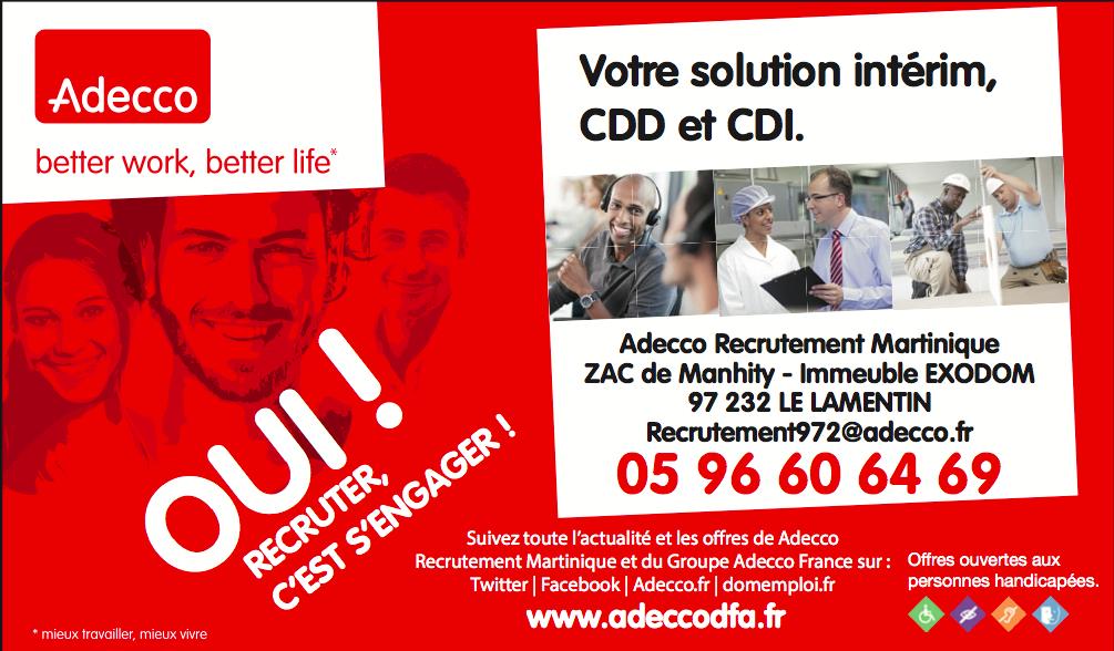 Les offres d'emploi de Adecco / Spring Martinique
