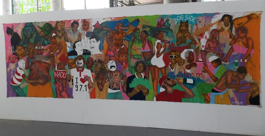 SAMUEL GELAS - Poésie urbaine, 2014 - Pierre noire et peinture sur toile  libre - (160cm X 500cm)