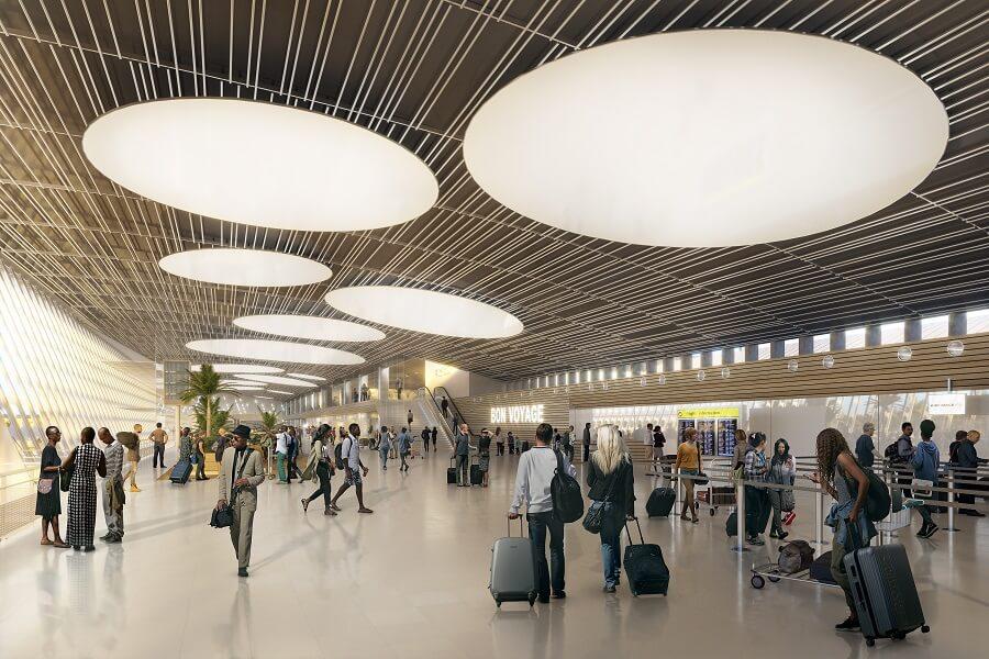 Intérieur aéroport Guadeloupe Pôle Caraibes