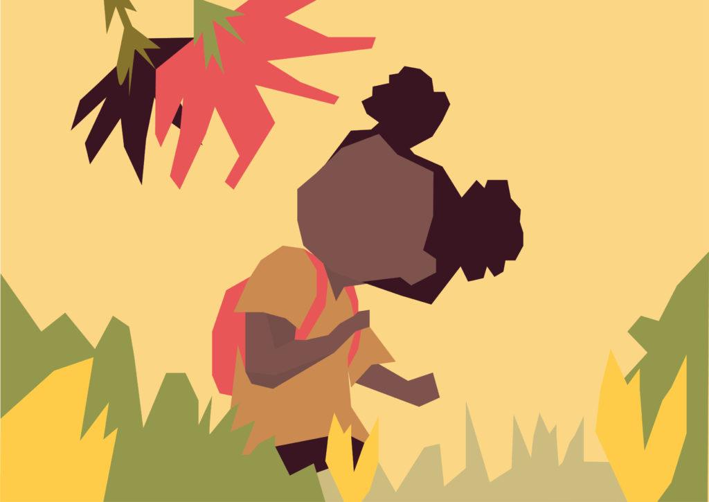 Illustration enfant dans la nature