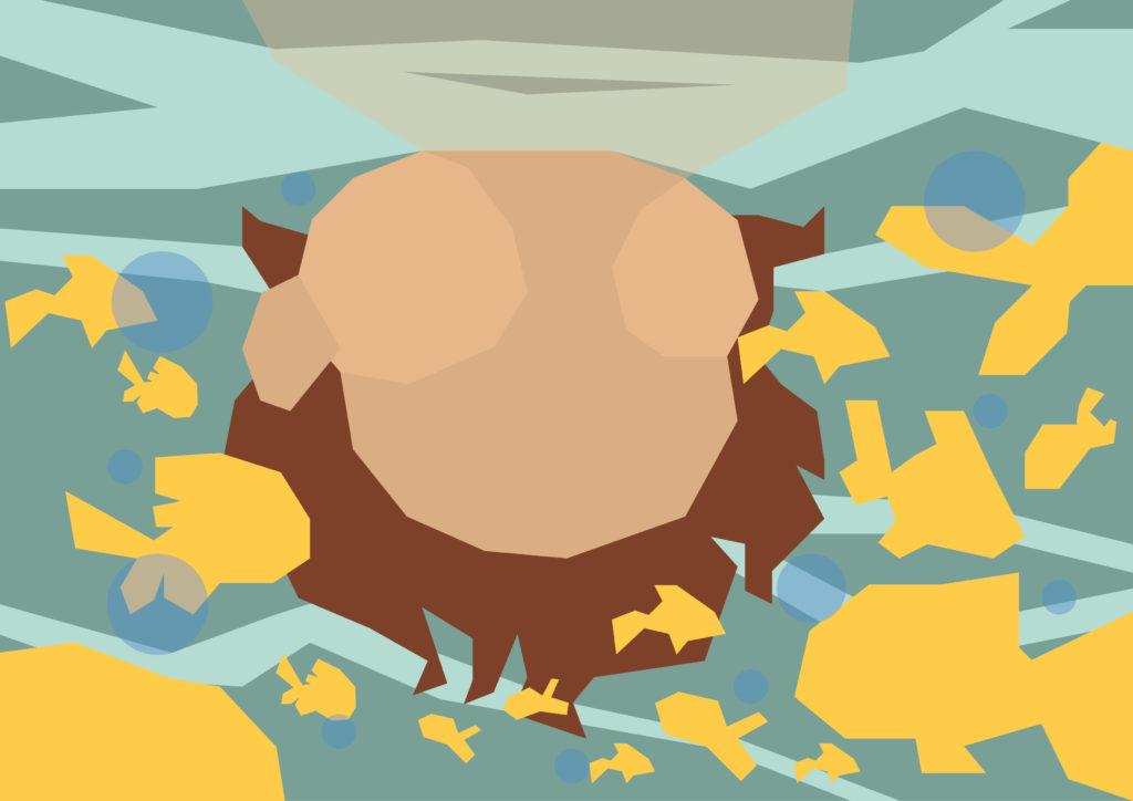 Illustration enfant dans la mer