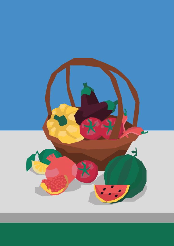 illustration panier de fruits et légumes