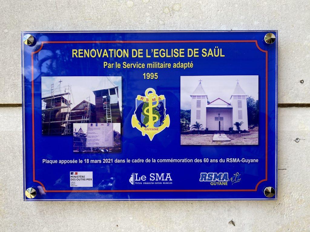 Plaque commémorative - Inauguration de l'église de Saül
